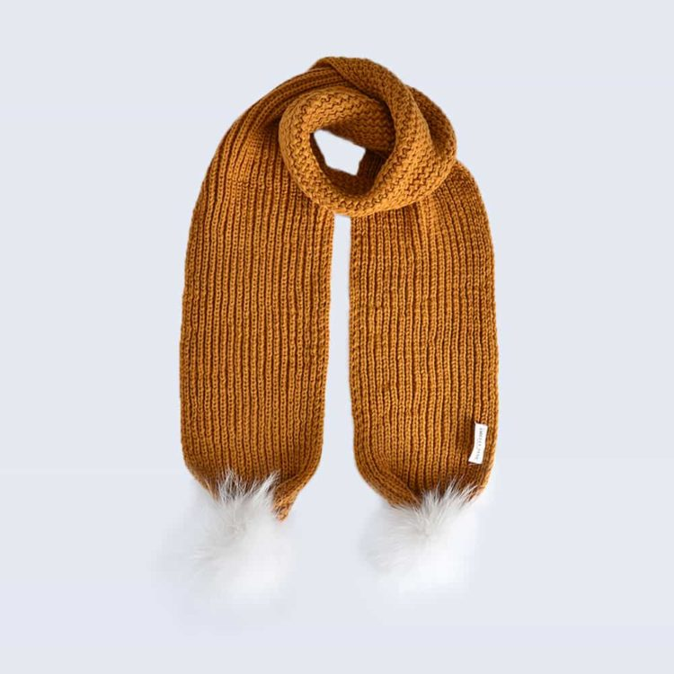 Caramel Scarf with White Fur Pom Poms