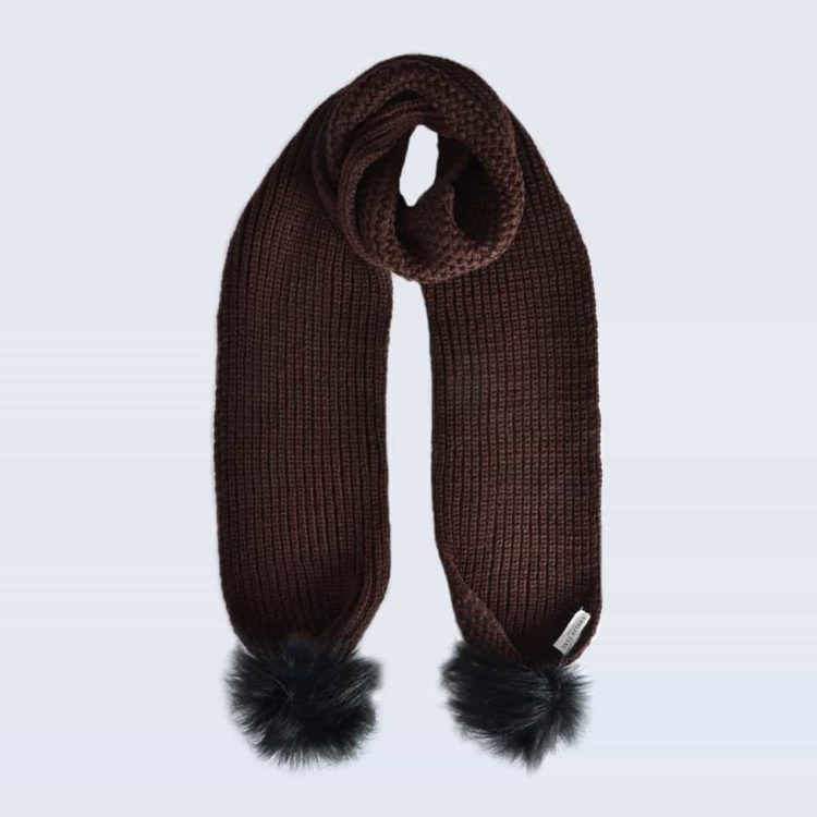 Chocolate Scarf with Black Faux Fur Pom Poms