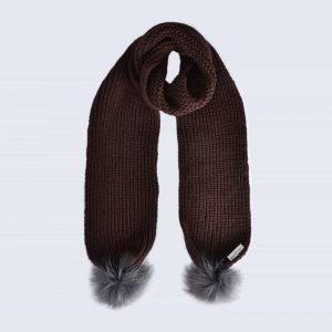 Chocolate Scarf with Grey Faux Fur Pom Poms