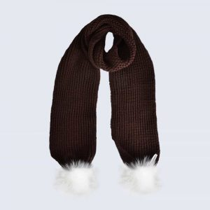 Chocolate Scarf with White Faux Fur Pom Poms