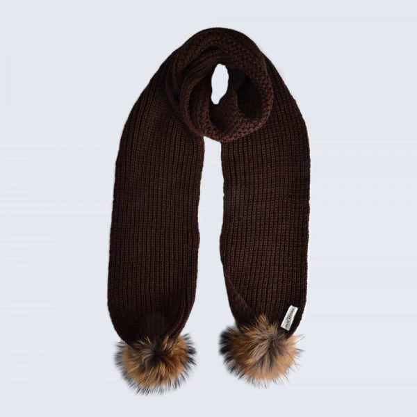 Chocolate Scarf with Brown Fur Pom Poms