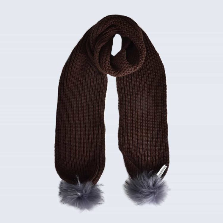 Chocolate Scarf with Grey Fur Pom Poms