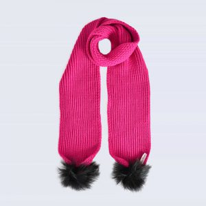 Fuchsia Scarf with Black Faux Fur Pom Poms