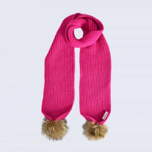 Fuchsia Scarf with Brown Faux Fur Pom Poms