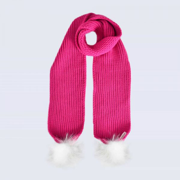 Fuchsia Scarf with White Faux Fur Pom Poms