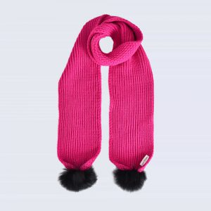 Fuchsia Scarf with Black Fur Pom Poms