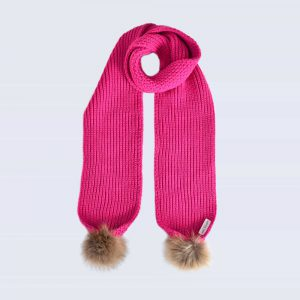 Fuchsia Scarf with Brown Fur Pom Poms