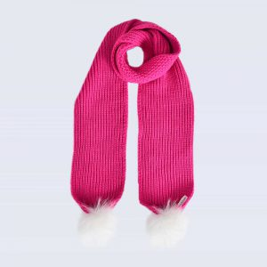 Fuchsia Scarf with White Fur Pom Poms
