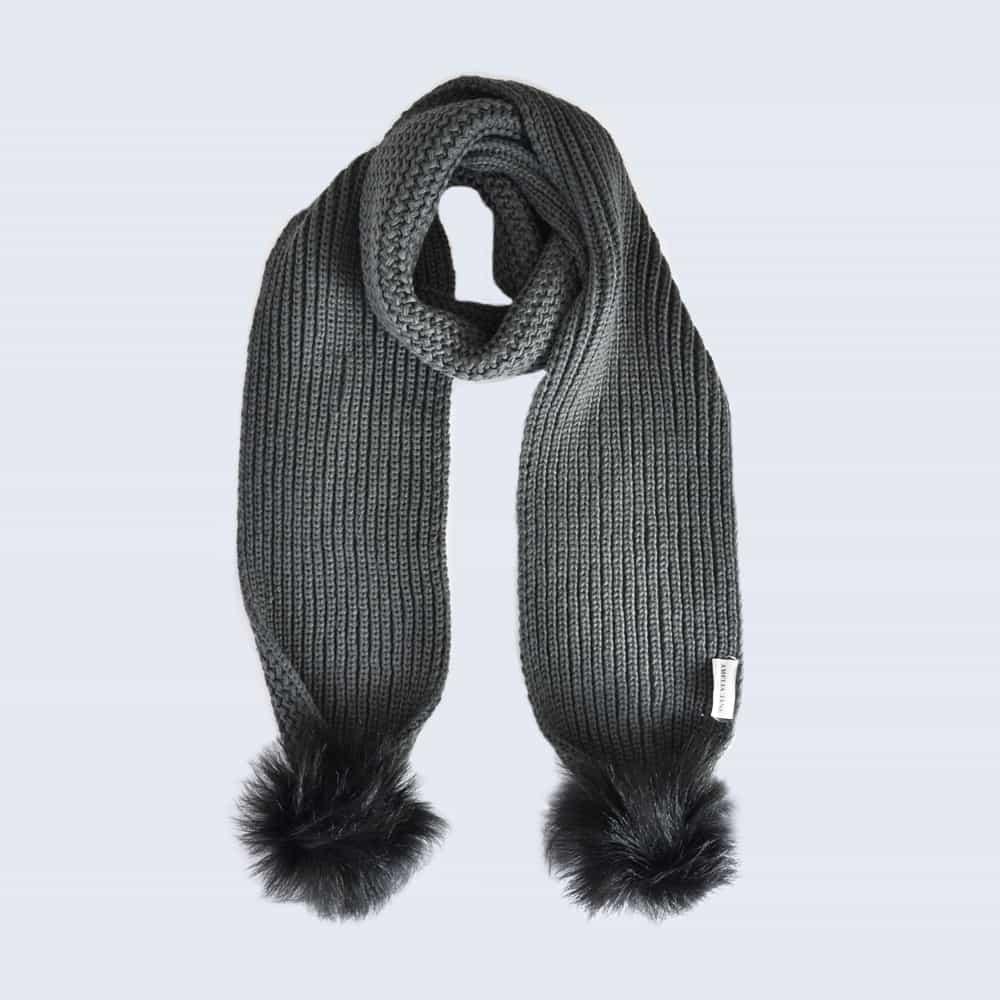 Grey Scarf with Black Faux Fur Pom Poms