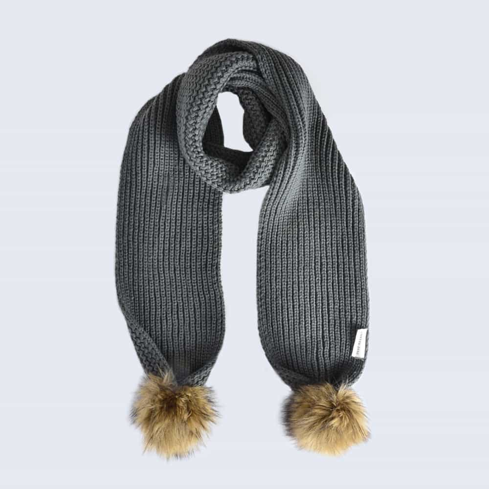 Grey Scarf with Brown Faux Fur Pom Poms