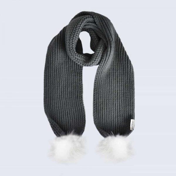 Grey Scarf with White Faux Fur Pom Poms