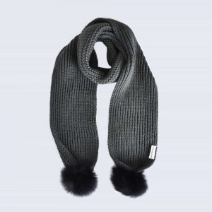 Grey Scarf with Black Fur Pom Poms