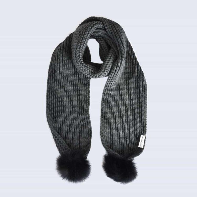 Grey Scarf with Black Fur Pom Poms