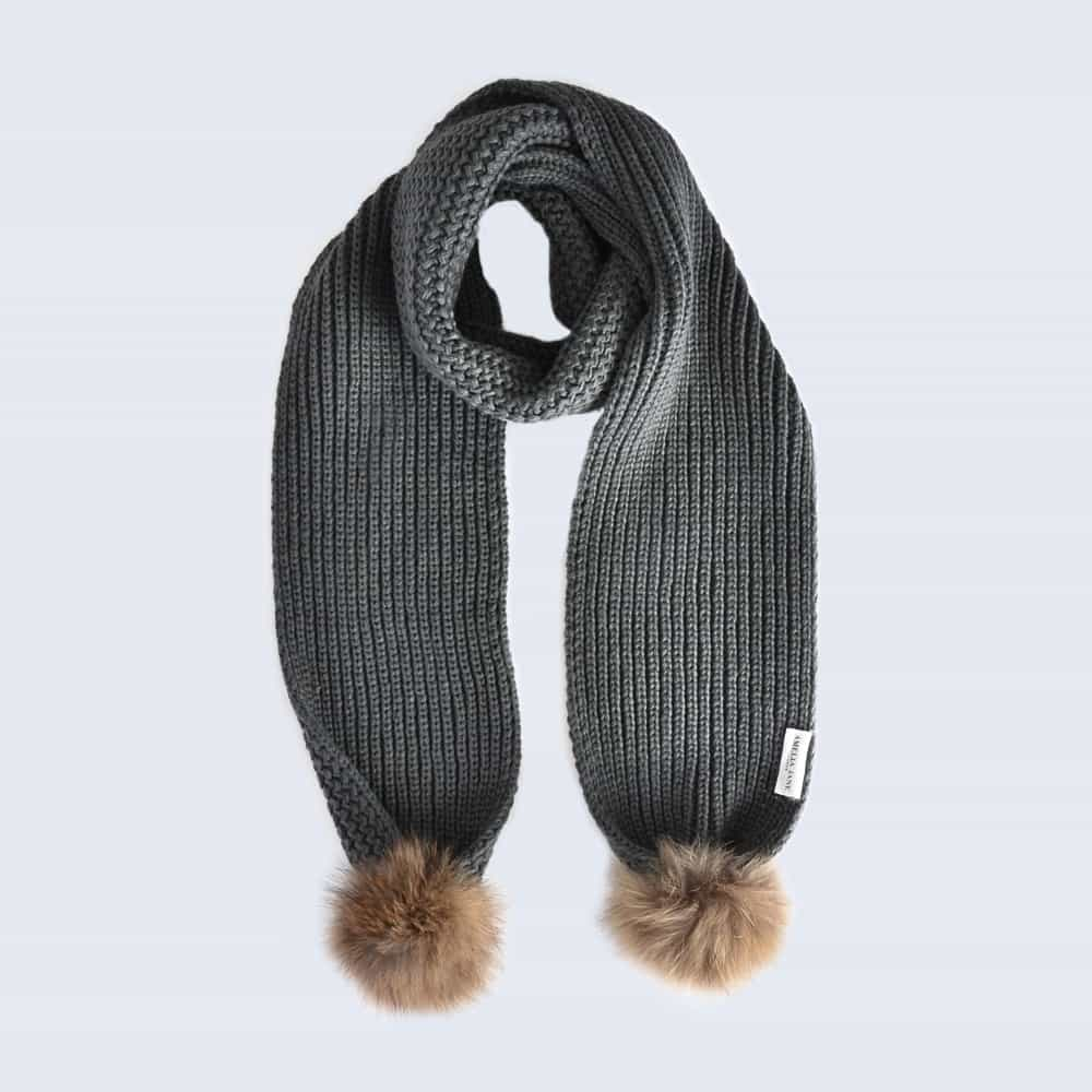 Grey Scarf with Brown Fur Pom Poms