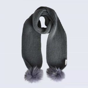 Grey Scarf with Grey Fur Pom Poms