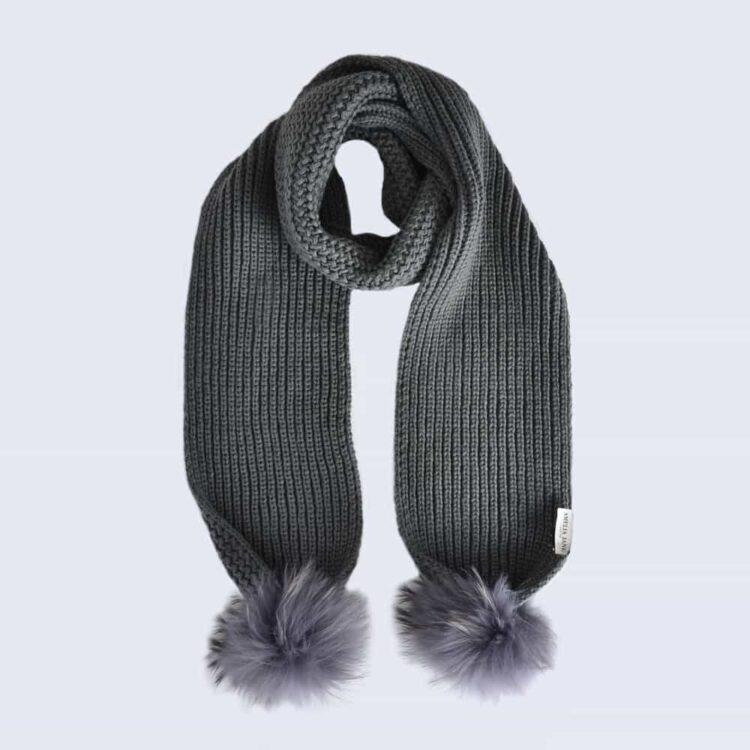 Grey Scarf with Grey Fur Pom Poms