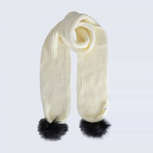 Ivory Scarf with Black Faux Fur Pom Poms