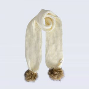 Ivory Scarf with Brown Faux Fur Pom Poms