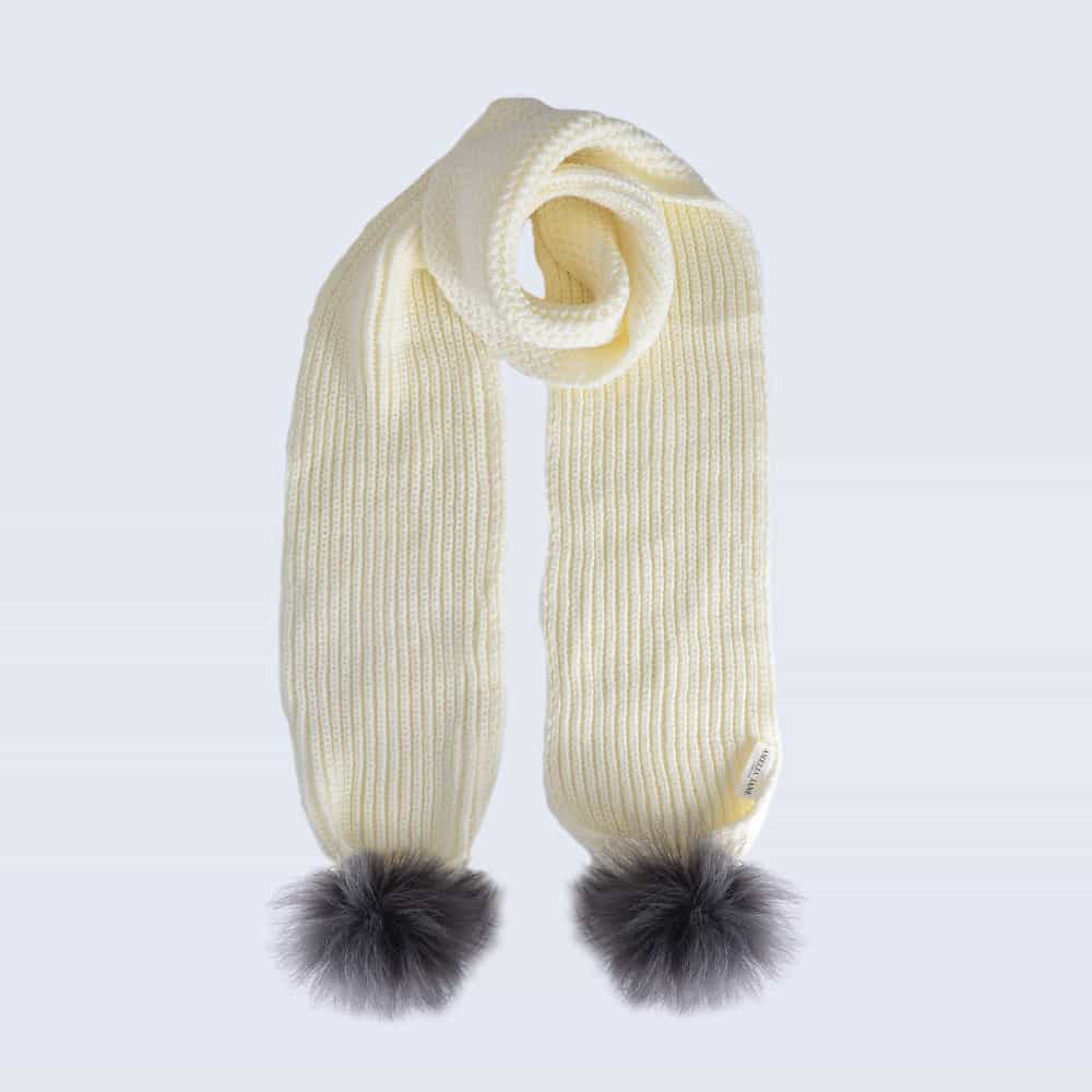 Ivory Scarf with Grey Faux Fur Pom Poms