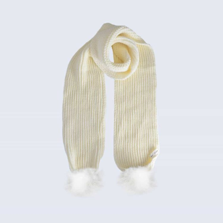 Ivory Scarf with White Faux Fur Pom Poms