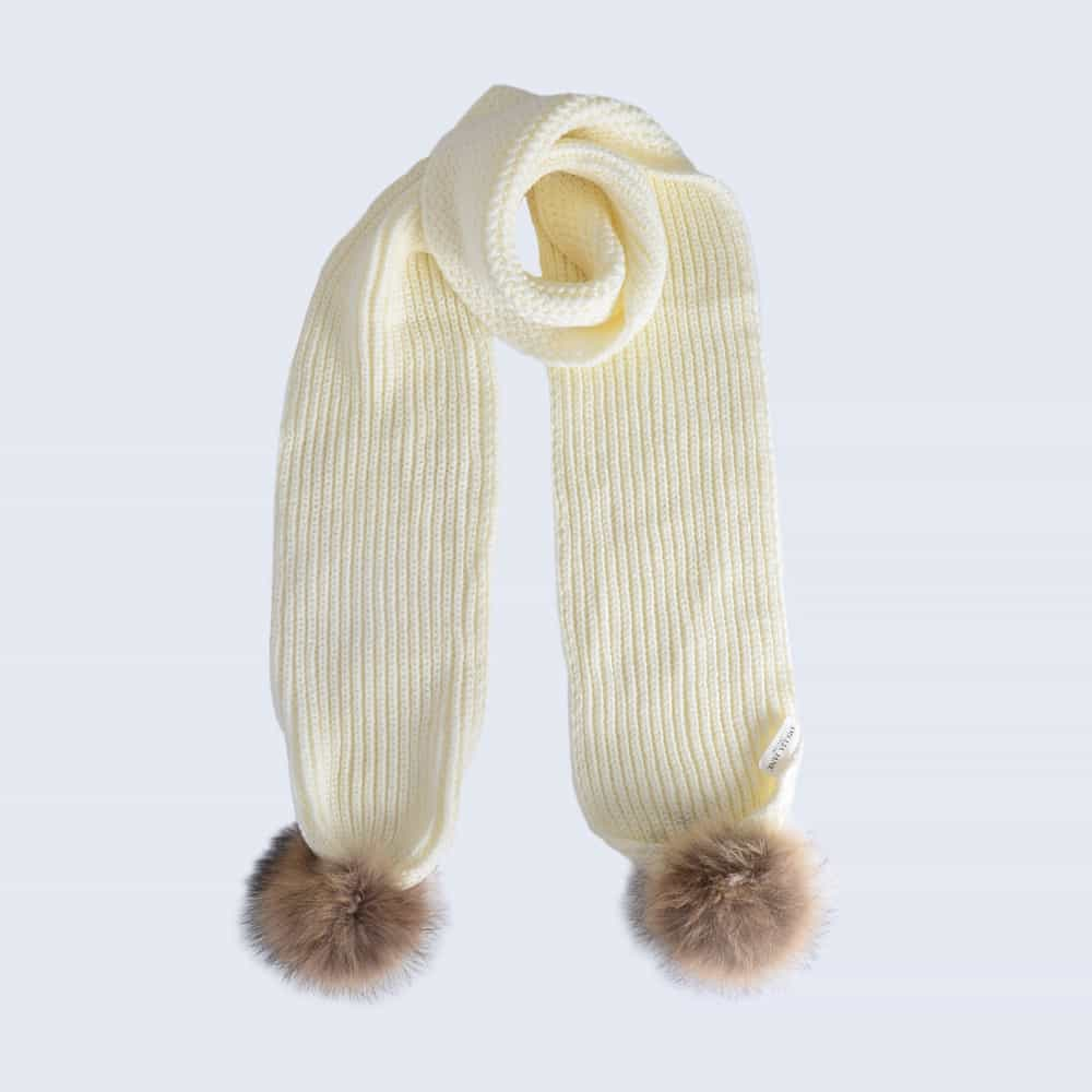 Ivory Scarf with Brown Fur Pom Poms