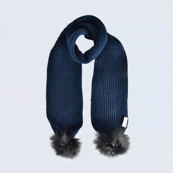 Navy Scarf with Black Faux Fur Pom Poms