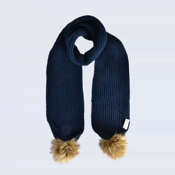 Navy Scarf with Brown Faux Fur Pom Poms