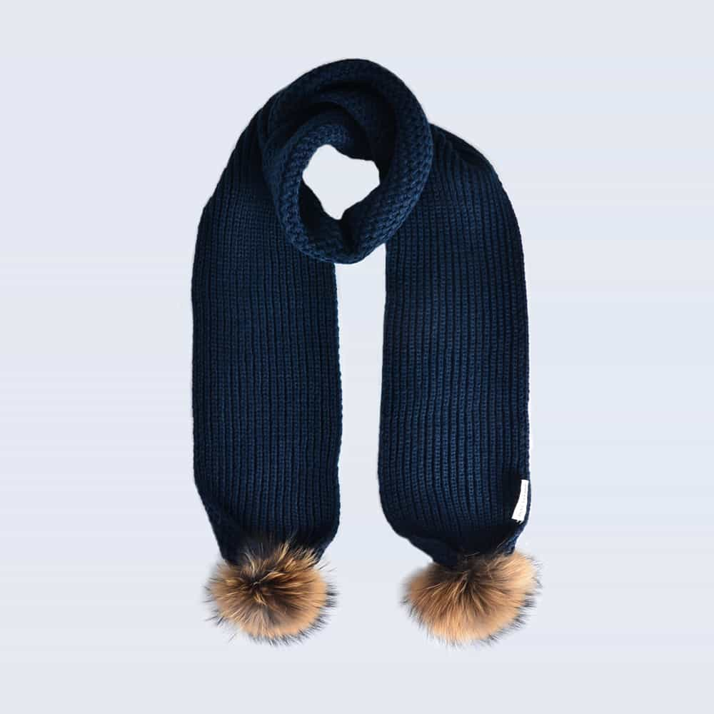 Navy Scarf with Brown Fur Pom Poms