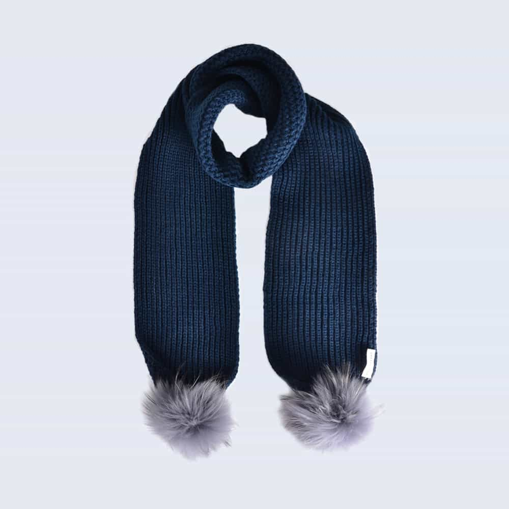 Navy Scarf with Grey Fur Pom Poms