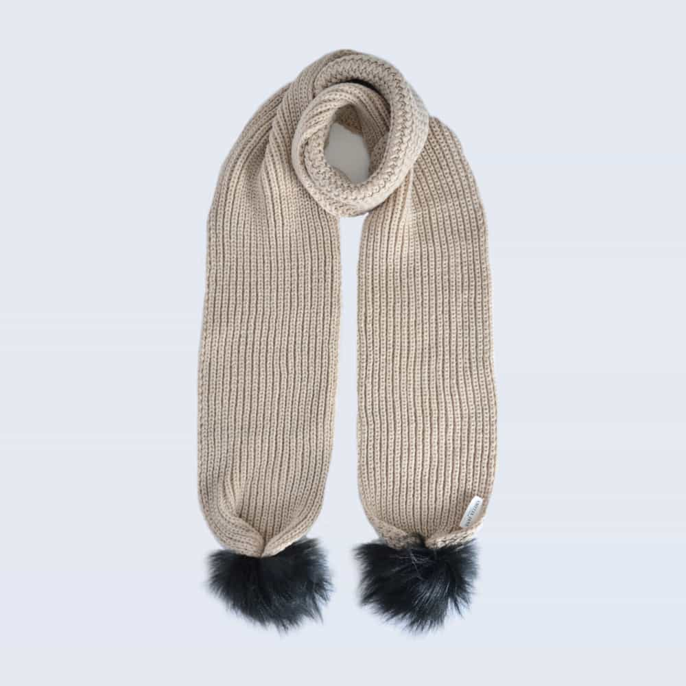 Oatmeal Scarf with Black Faux Fur Pom Poms