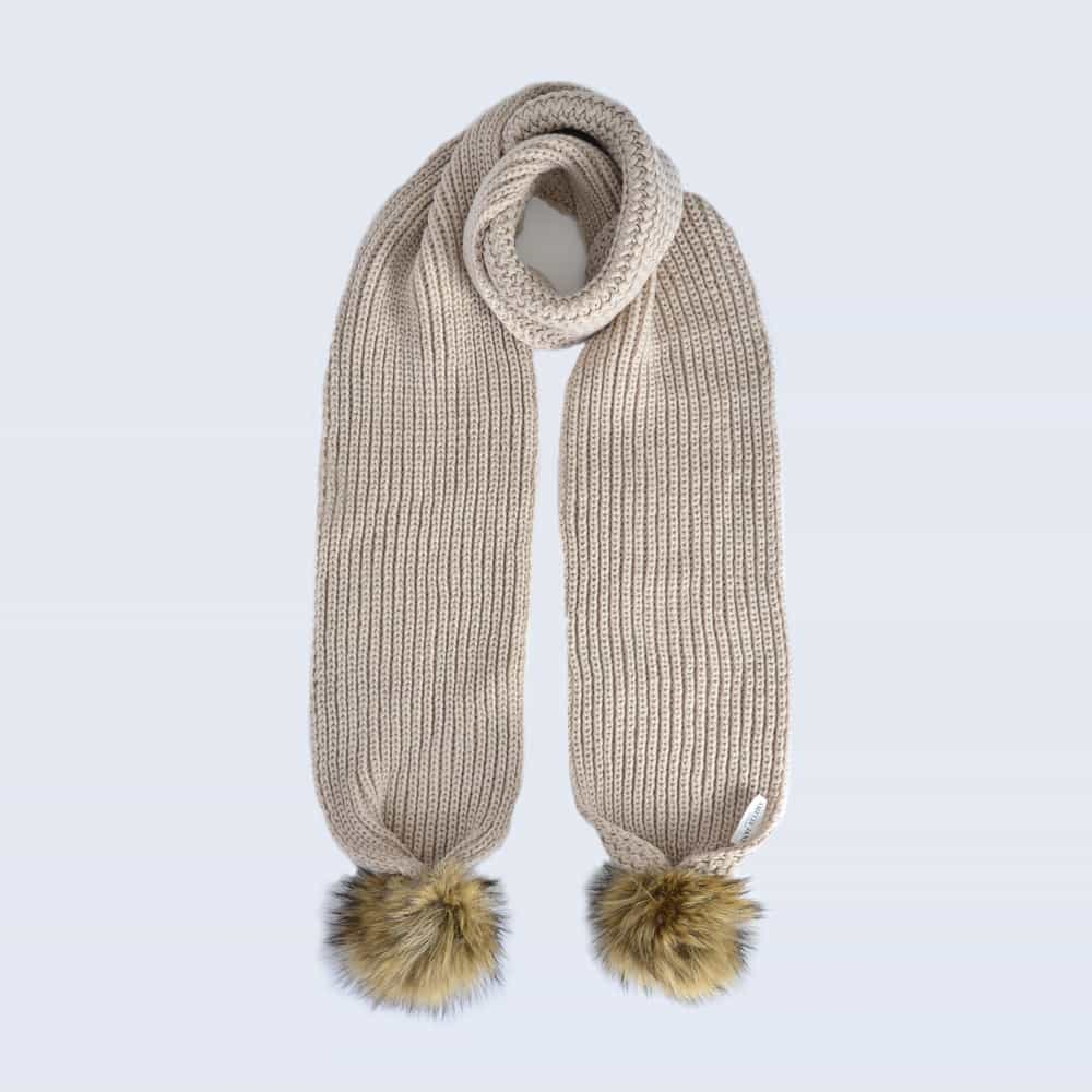 Oatmeal Scarf with Brown Faux Fur Pom Poms