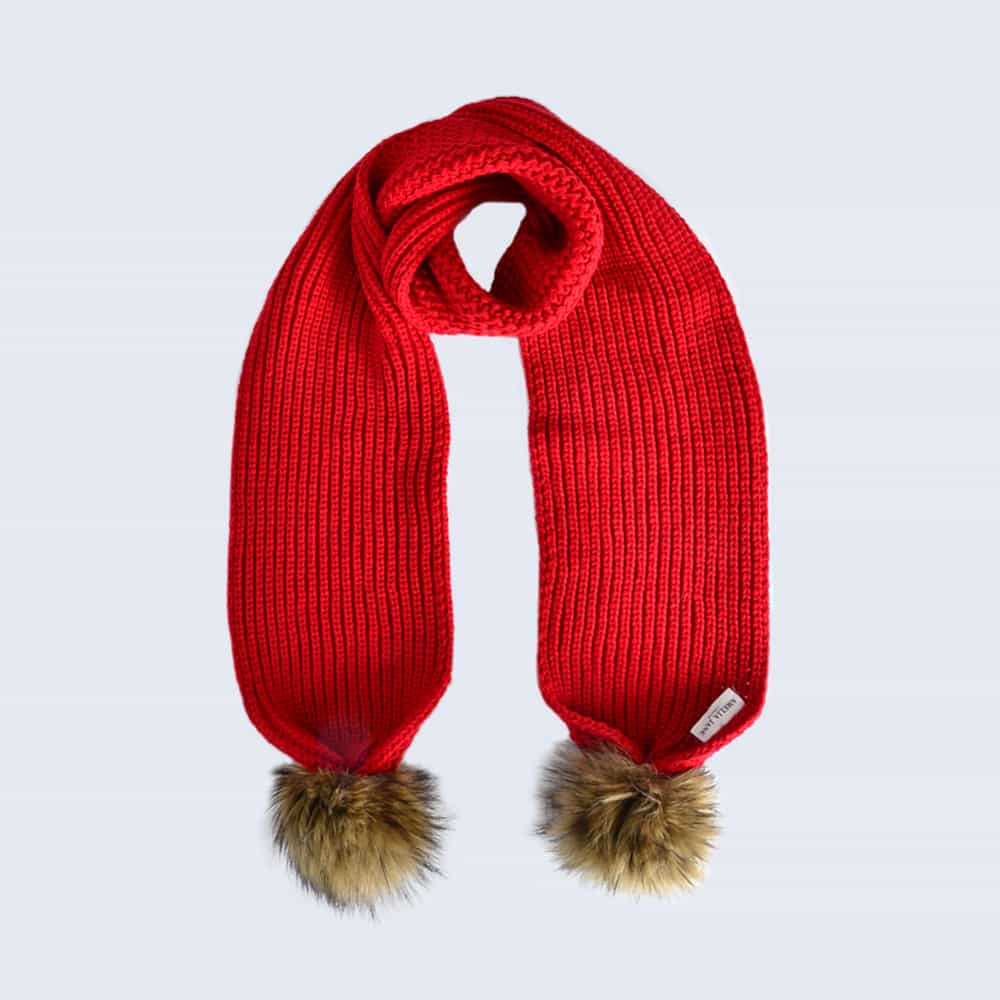 Scarlet Scarf with Brown Faux Fur Pom Poms