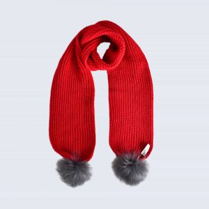 Scarlet Scarf with Grey Faux Fur Pom Poms
