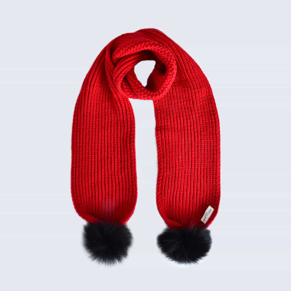 Scarlet Scarf with Black Fur Pom Poms