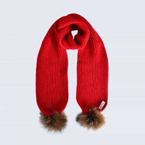 Scarlet Scarf with Brown Fur Pom Poms