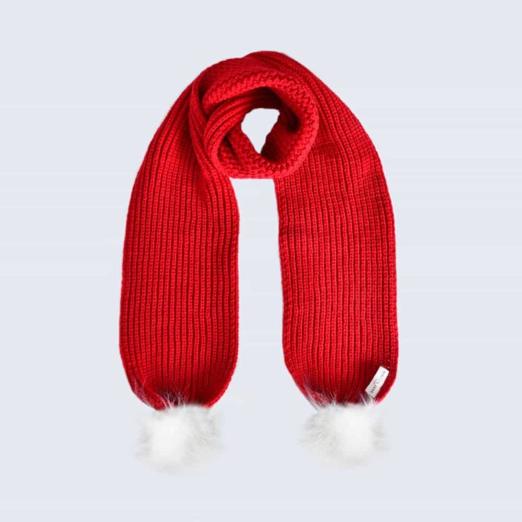 Scarlet Scarf with White Fur Pom Poms