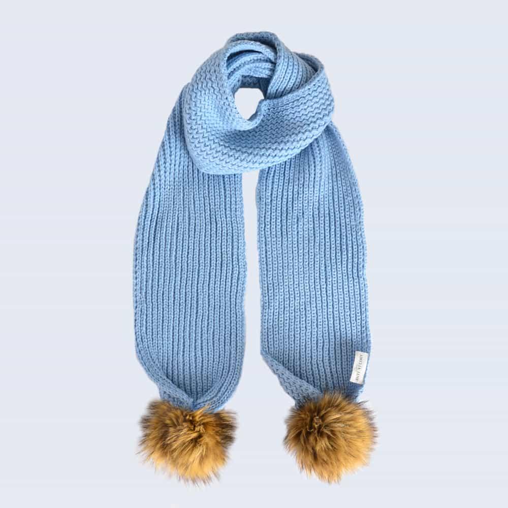Sky Blue Scarf with Brown Faux Fur Pom Poms