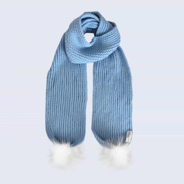 Sky Blue Scarf with White Faux Fur Pom Poms