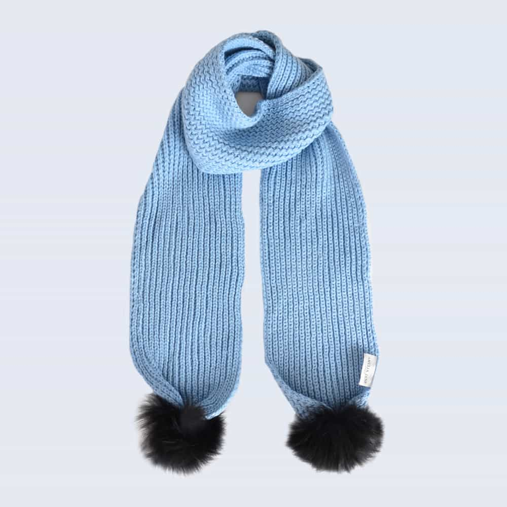 Sky Blue Scarf with Black Fur Pom Poms