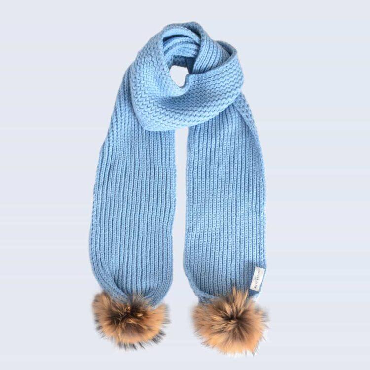 Sky Blue Scarf with Brown Fur Pom Poms