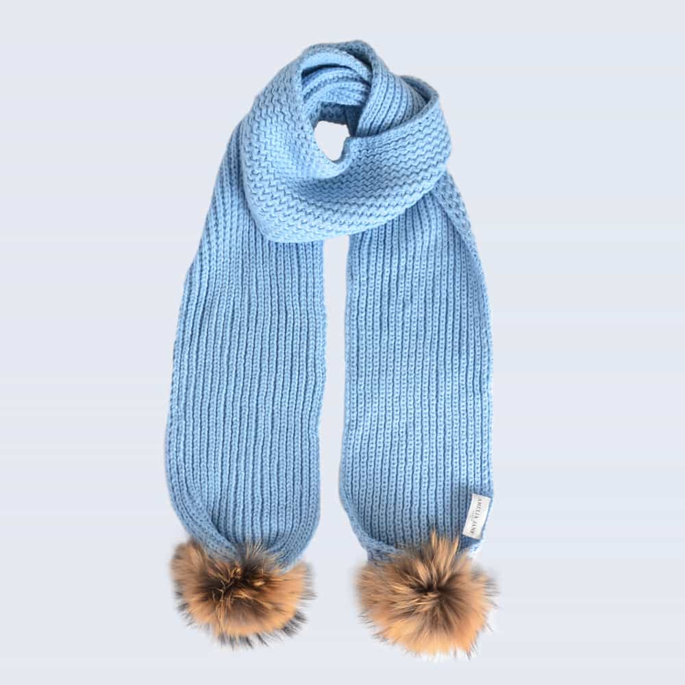 Sky Blue Scarf with Brown Fur Pom Poms