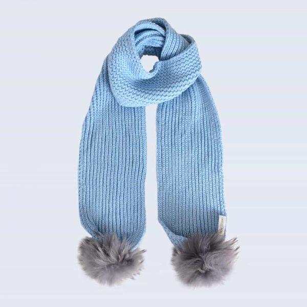 Sky Blue Scarf with Grey Fur Pom Poms