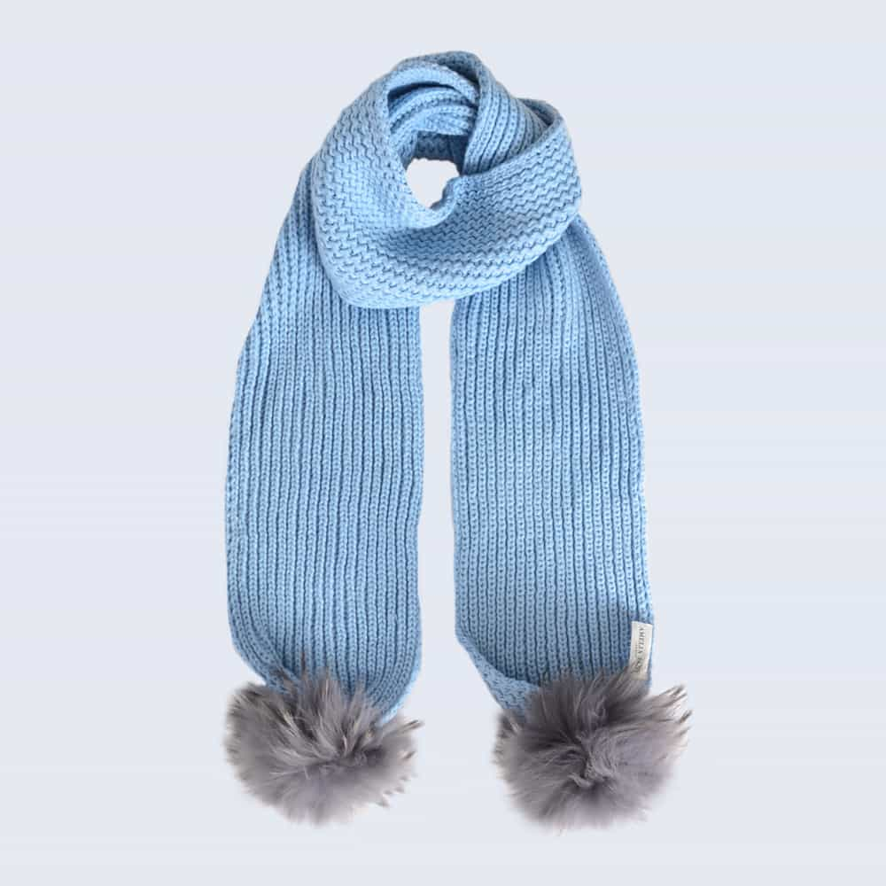 Sky Blue Scarf with Grey Fur Pom Poms