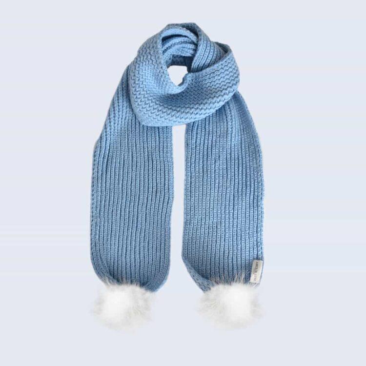 Sky Blue Scarf with White Fur Pom Poms