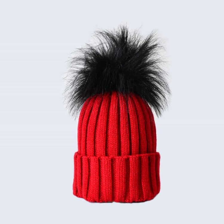Scarlet Hat with Black Faux Fur Pom Pom