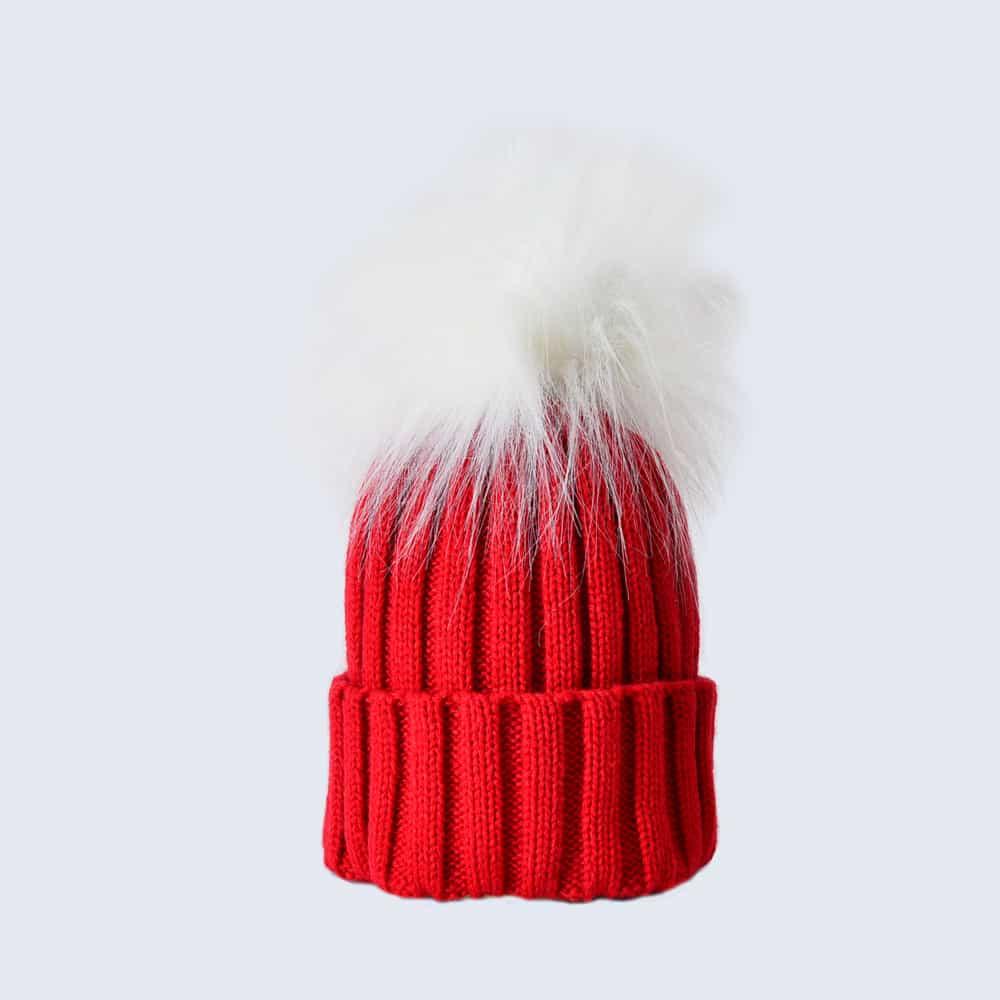 Scarlet Hat with White Faux Fur Pom Pom