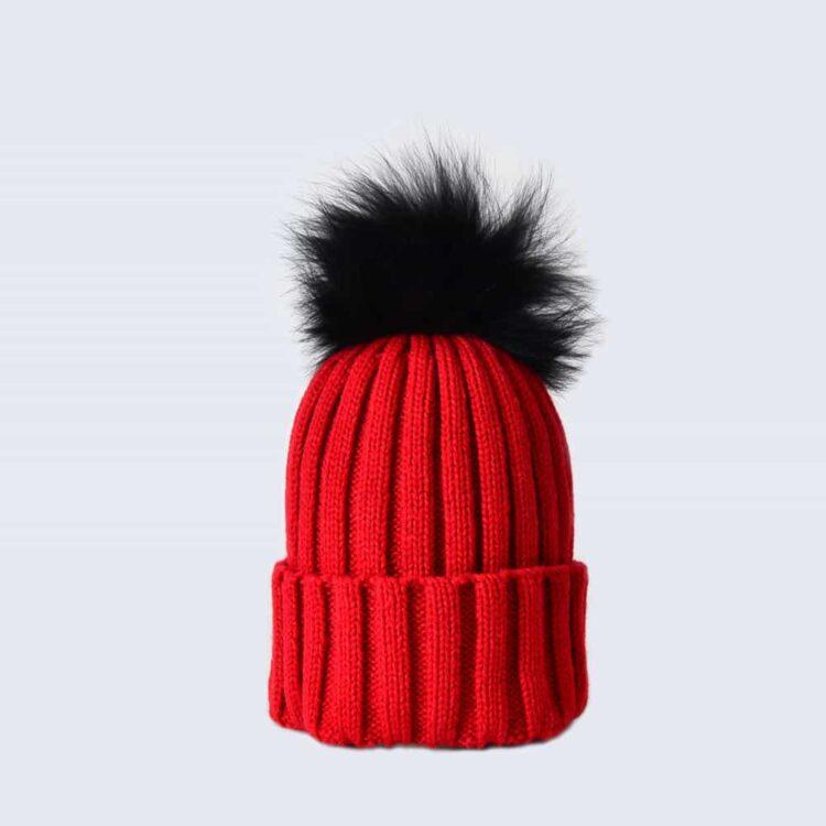 Scarlet Hat with Black Fur Pom Pom