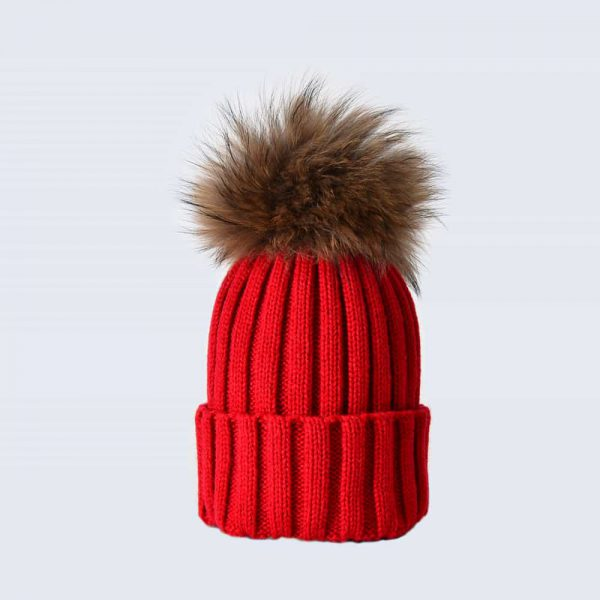 Scarlet Hat with Brown Fur Pom Pom