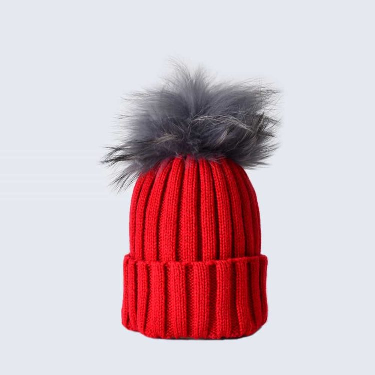 Scarlet Hat with Grey Fur Pom Pom
