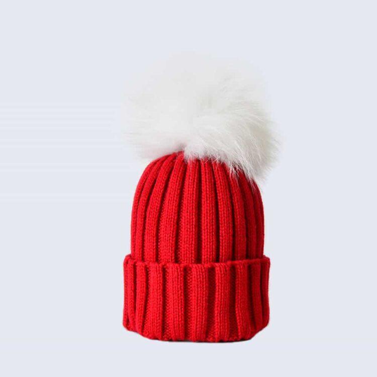 Scarlet Hat with White Fur Pom Pom